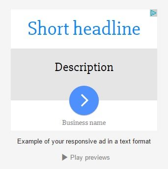 Preview 1: responsive ad in text format with a short headline.