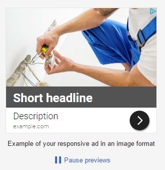 Preview 4: responsive ad in an image format with a short headline.
