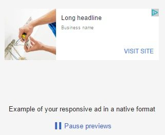 Preview 5: responsive ad in a native format with a long headline.