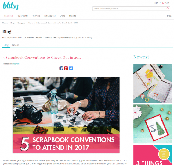 Blitsy, a craft store, alerts customers to upcoming crafting conventions. Some of its blog posts also focus on free printable crafts and journal pages.