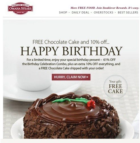 """For Omaha Steaks to send this """"happy birthday"""" email, it first had to append a subscriber's birth month to her data file."""