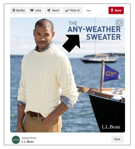 L.L.Bean is among the retailers that will sometimes add text directly to the pinned image.