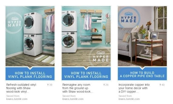 Lowe's pins how-to and helpful content to encourage clicks.