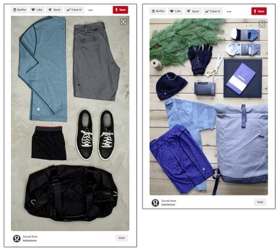 Lululemon is one of many retailers that include multiple products in a single pin image. If your goal is to encourage clicks, this technique could help.