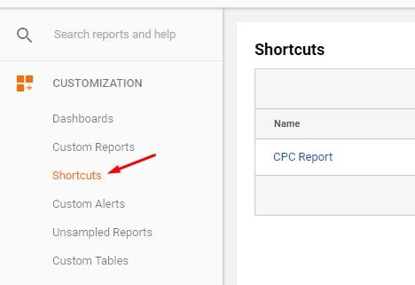 "Find all shortcuts by clicking the ""Shortcuts"" link."