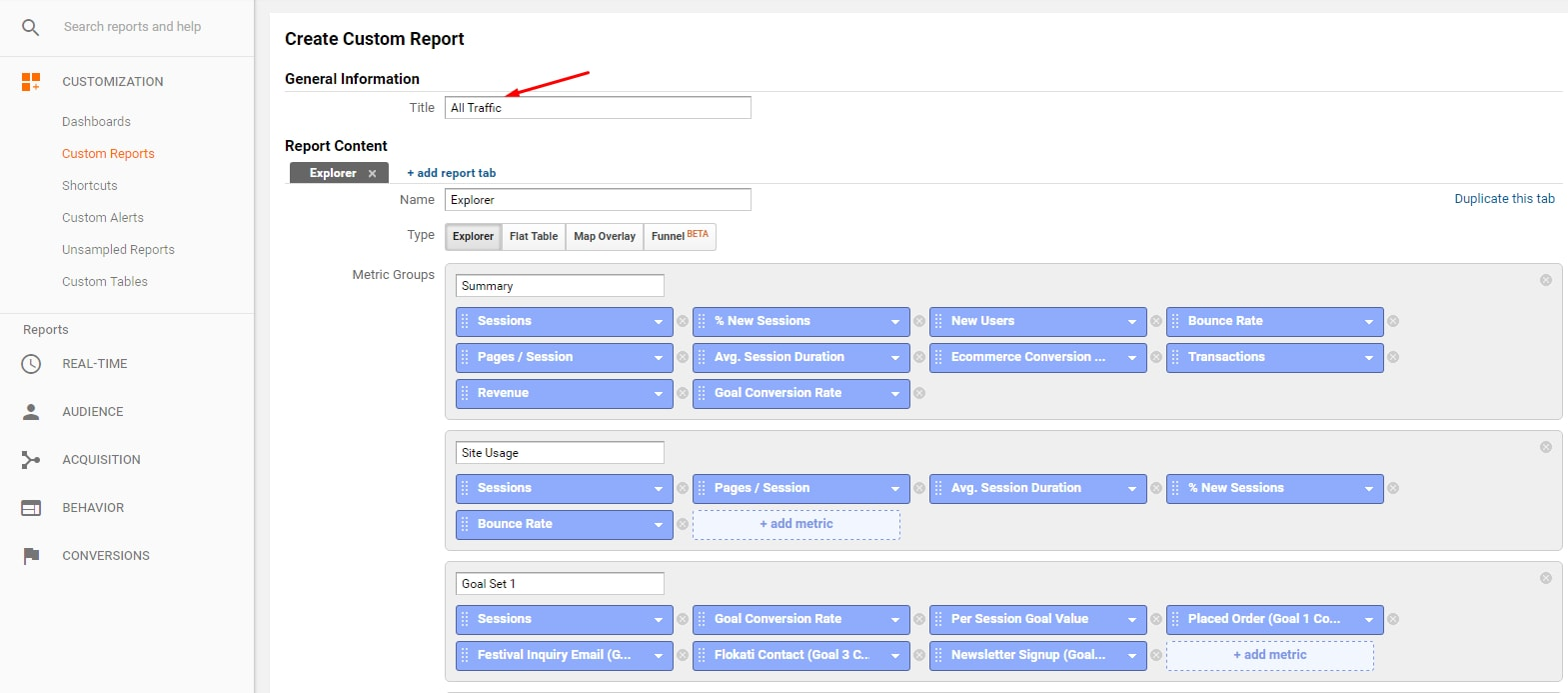Rename the custom report and add or remove desired metrics.