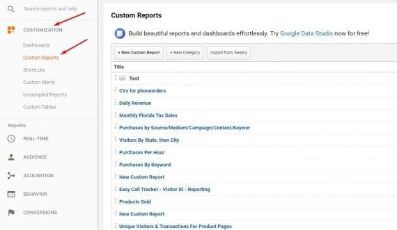 "Access custom reports in the ""Customization"" section."