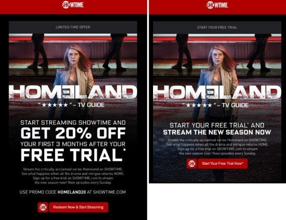 "This creative showcases two different offers the advertiser is testing. The example on the left emphasizes the promotion of ""20% Off"" much more prominently."