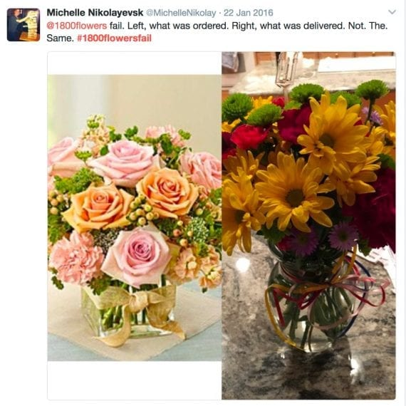 1-800 Flowers ran into issues when customers posted negative reviews on social media with negative hashtags attached.