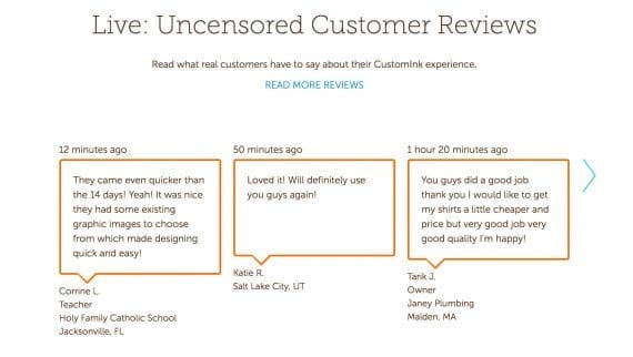 "CustomInk shows ""Uncensored Customer Reviews"" to demonstrate that its customers are pleased."