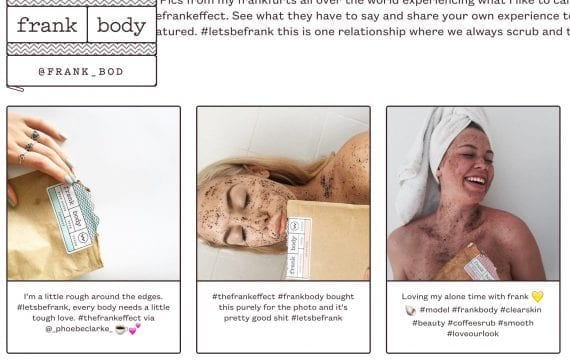 Frank Body uses the Olapic platform to aggregate customers' social media posts.