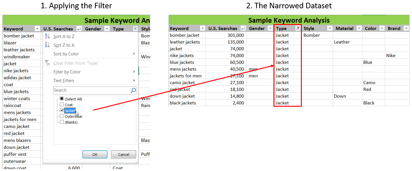 Filtering keywords in Excel