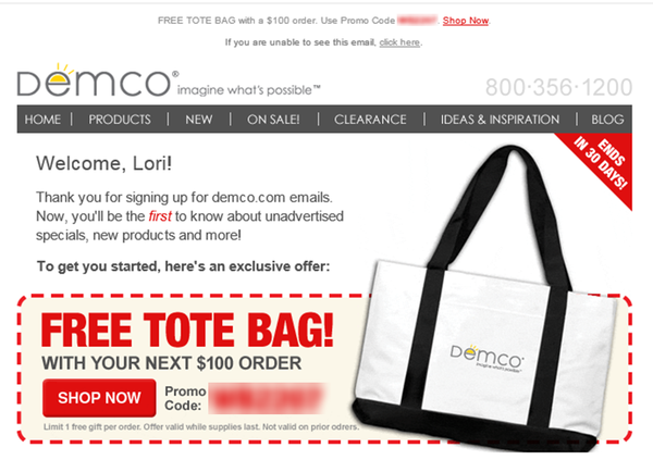 Demco offers a free tote bag in its welcome email.