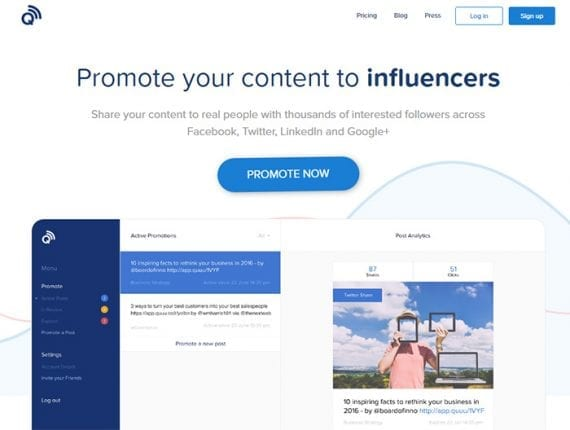 Quuu Promote will help place your content on social media, encouraging folks who are already looking for things to share to post your content.