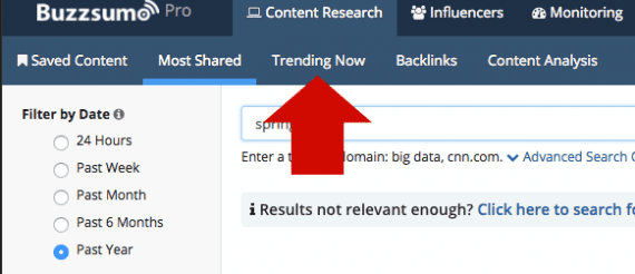 BuzzSumo looks for trending articles that may help you find new topics to cover.