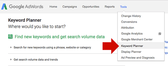 you will find the keyword planner under adwords tool menu