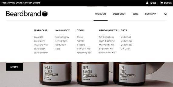 Uma boa navegação no site de comércio eletrônico, como o que você encontra no Beardbrand.com, deve ser fácil de entender e fácil de usar.