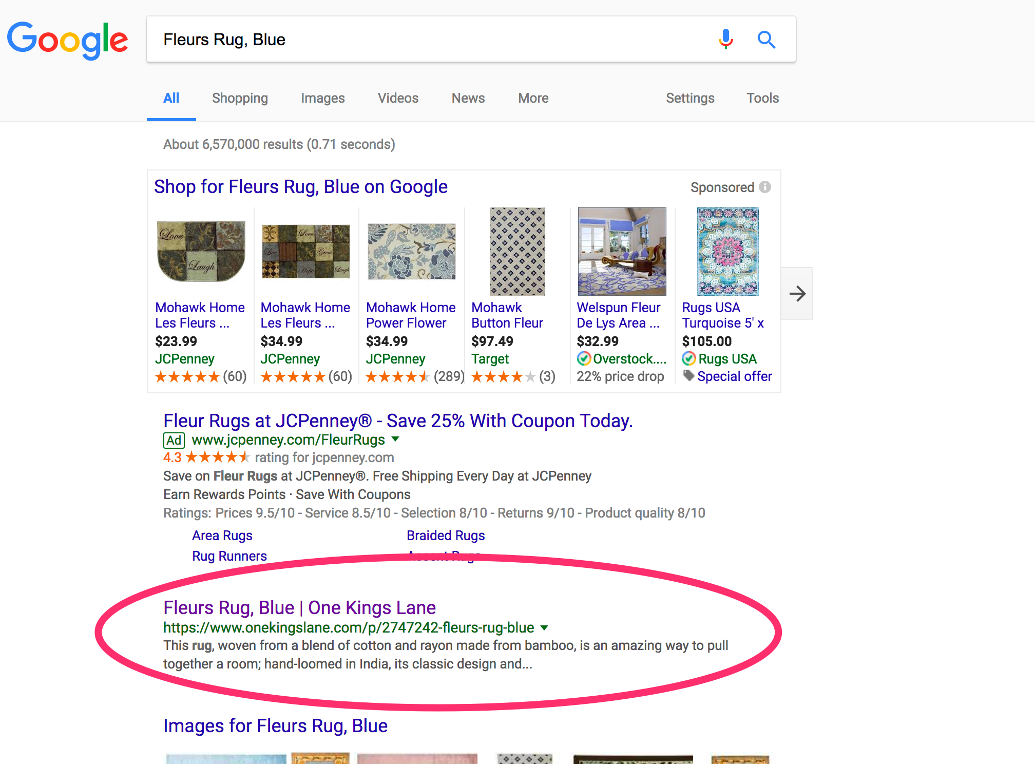 """One Kings Lane has a top rank on Google for """"Fleurs Rug, Blue"""" despite not having canonical tags."""