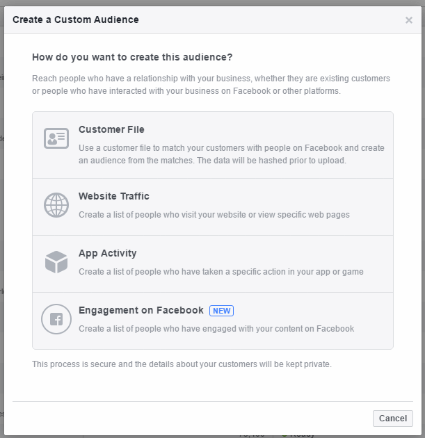 Options for creating a Custom Audience now include Engagement on Facebook.