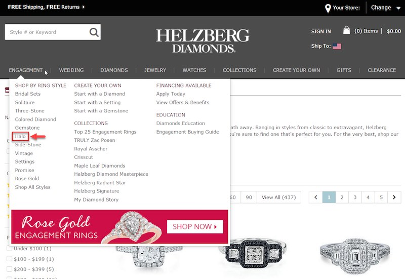 Helzberg.com links directly to an optimized page for halo engagement rings.