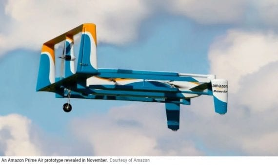 Amazon is an innovator in drone delivery. It completed its first such delivery last December in England. Image: Amazon.