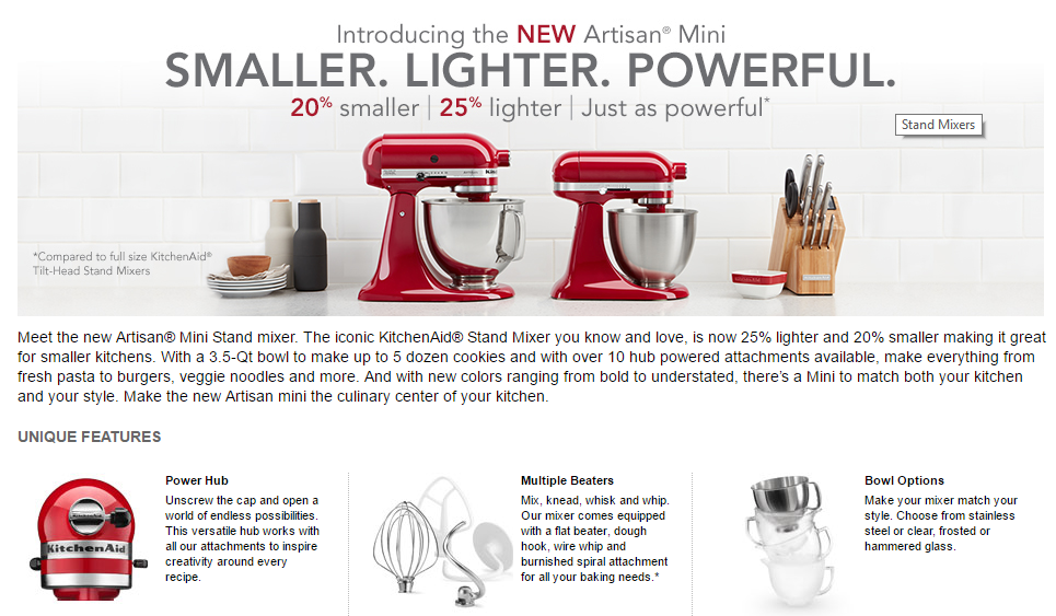 KitchenAid mixer features