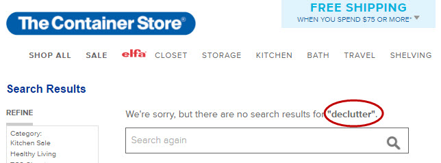The Container Store declutter search results