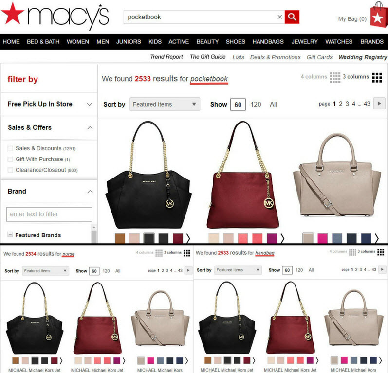 Macy's uses diverse keywords to push relevant search results