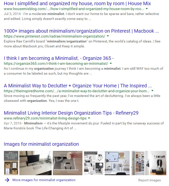 Google search results on minimalist and organization