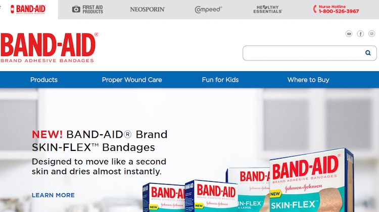 Band-Aid displays tabbed links to related Johnson & Johnson brands.