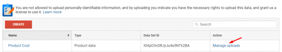"Go to ""Manage uploads"" to upload the product cost data."
