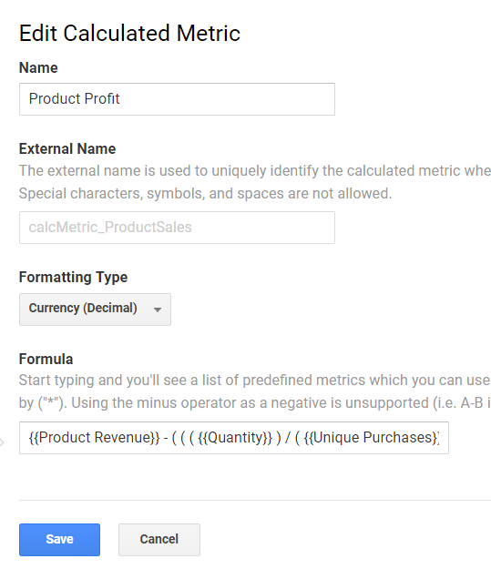 "Create another Calculated Metric called ""Product Profit."""