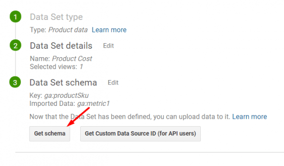 "Leave ""Overwrite hit data"" set to ""No"" when both imported data and hit data are available. Save and then click on ""Get schema."""