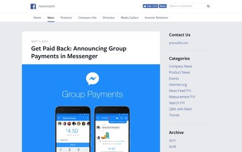 Facebook Newsroom, announcing group payments in Messenger.