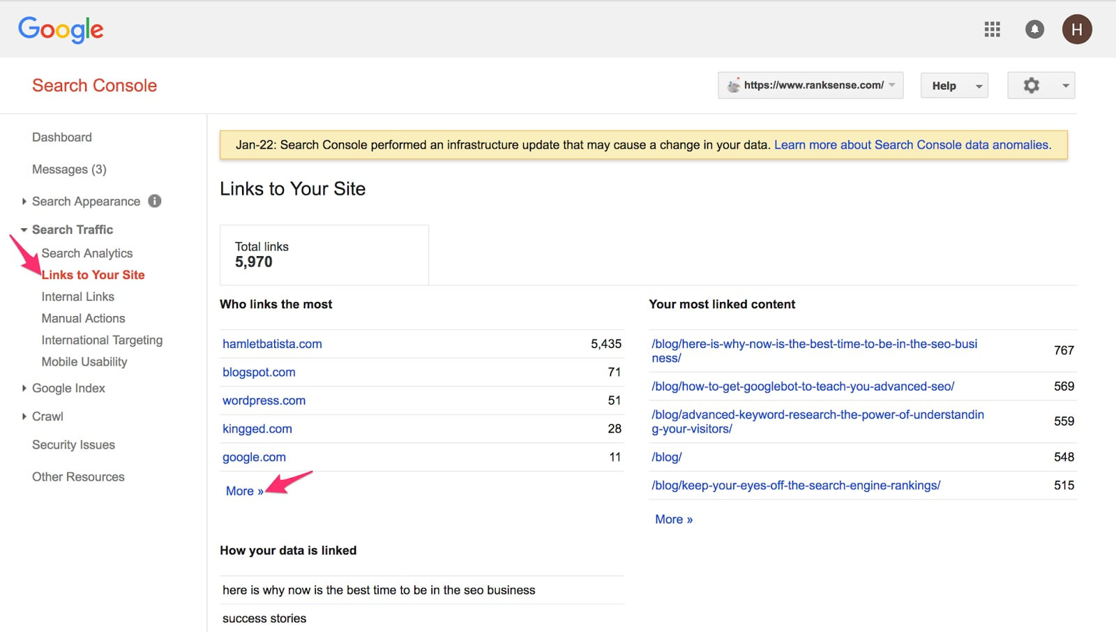 """To view inbound links in Search Console, go to <em>Search Traffic > Links to Your Site.</em> Under """"Who links the most,"""" click """"More."""""""