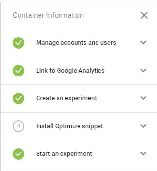 A checklist for installing Optimize correctly, provided in-app.