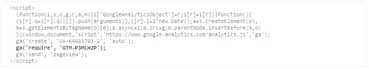 Google Analytics snippet after adding the Optimize code to it.