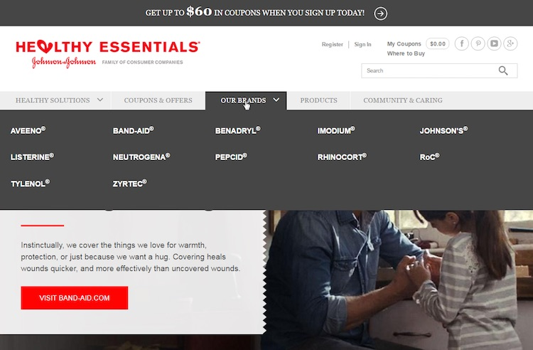 Healthy Essentials drives users through a landing page before linking to the brand's site.