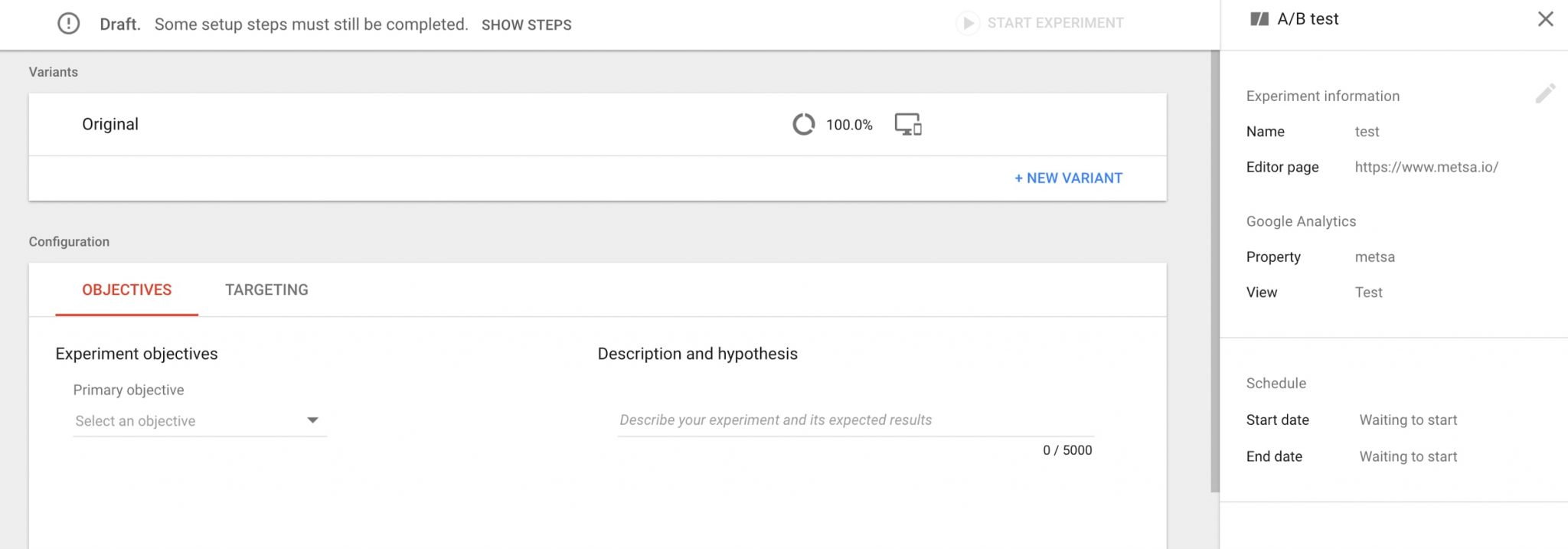 Google optimize setting up experiments practical ecommerce clicking the create experiment button leads to a screen to name your experiment fandeluxe Image collections