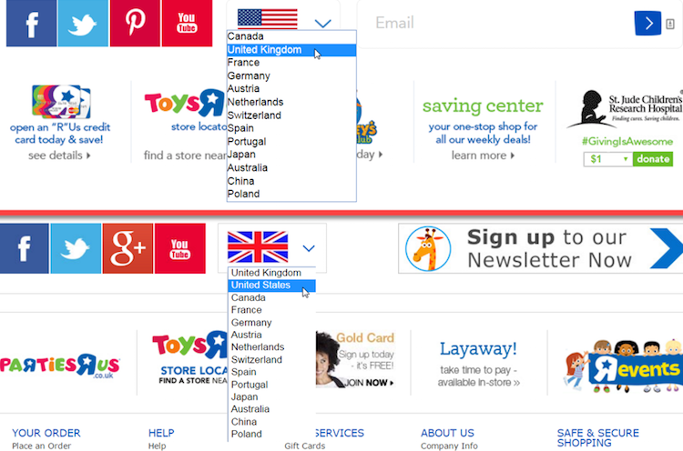 """The Toys""""R""""Us footer uses an optimal location dropdown on the U.S. and U.K. versions of the site."""