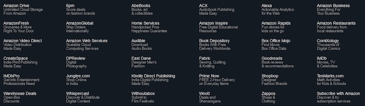 Amazon's footer displays a list of brand links.