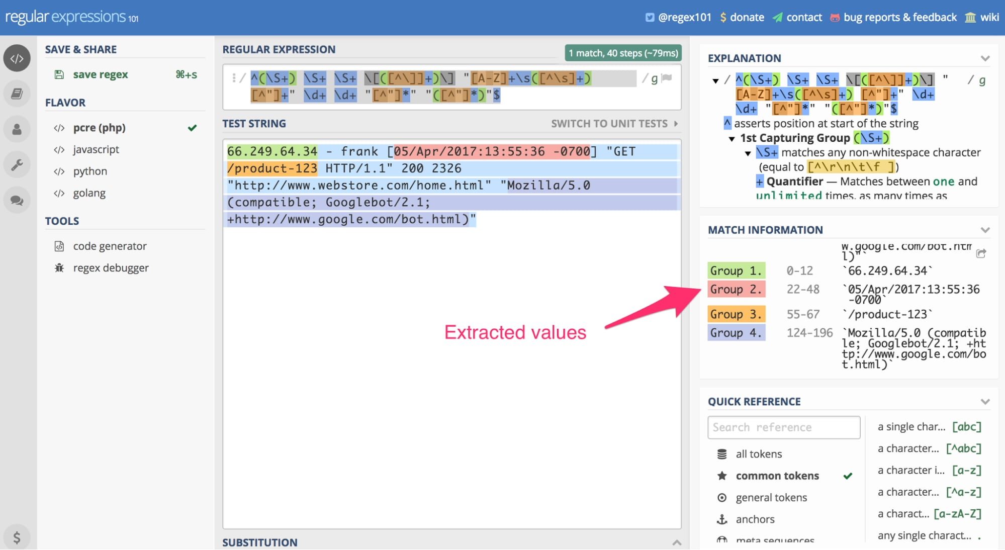 """Using RegEx 101, we can paste the server log entry referenced earlier in the article as a """"test string"""" and apply the above regular expression. The result is our extracted data. <em>Click image to enlarge.</em>"""