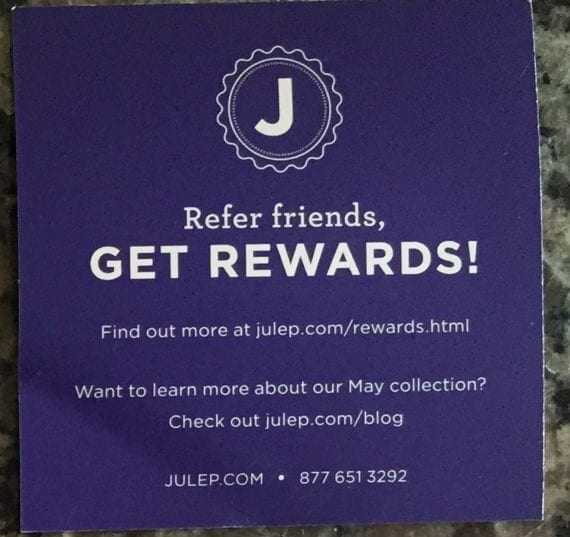 Julep promotes its referral program by inserting a flyer in shipping boxes.