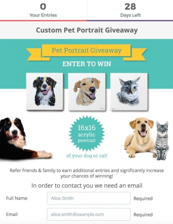 My Pooch Face grows its email list by offering — on its website — a contest for free, hand-painted pet portraits