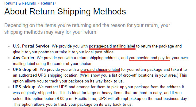 Amazon offers flexible return shipping methods.