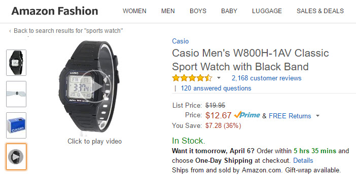 Amazon page for a Casio watch, with video.