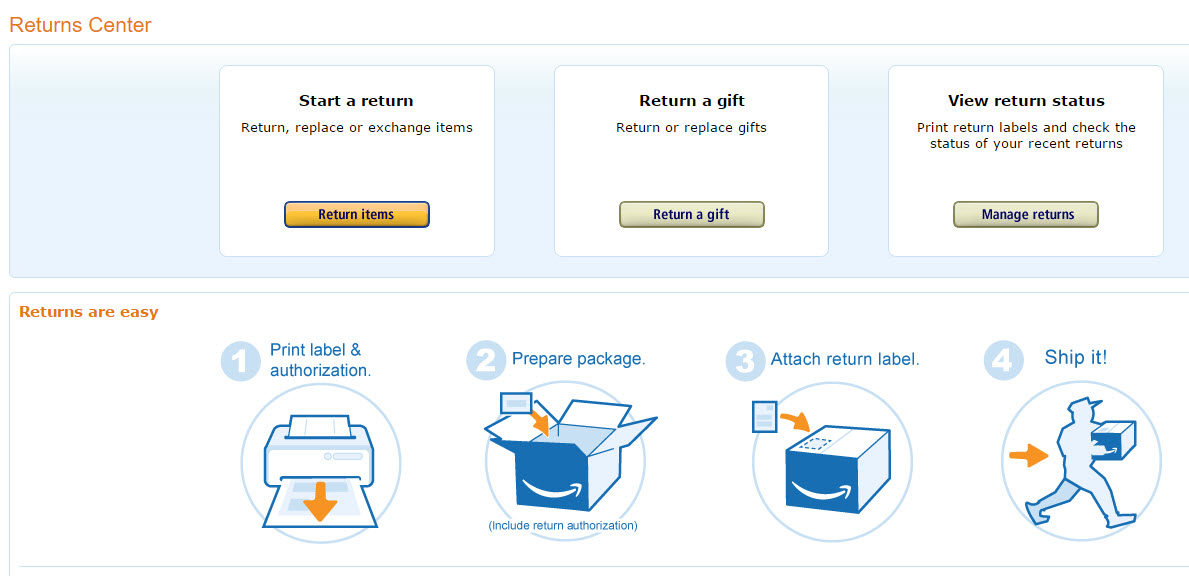 Amazon makes it convenient to return products by automatically including an RMA when a customer prints a return label.