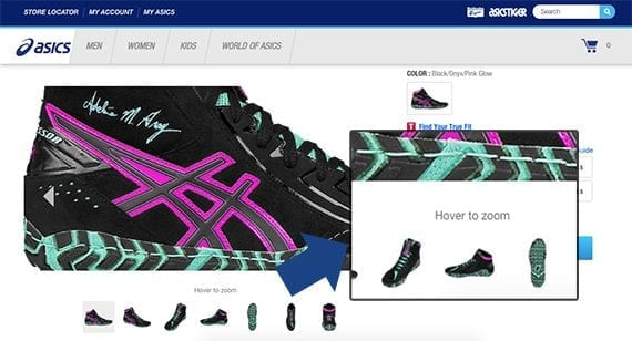 Asics, like many online retail sites, allows customers to zoom in for a closer look on product images.