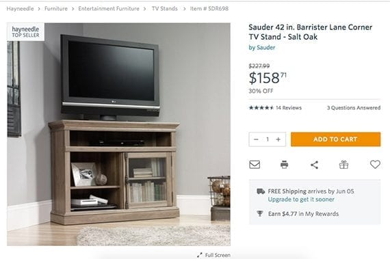 If you had seen this television stand without the context, you might have thought it was larger or smaller, but Hayneedle shows it with a television in a room setting, which provides a sense of scale.