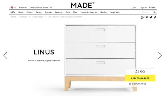 The product images on Made's detail pages dominate the main section of the page.